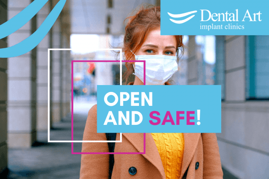 Woman wearing a mask. Text - Open and safe!